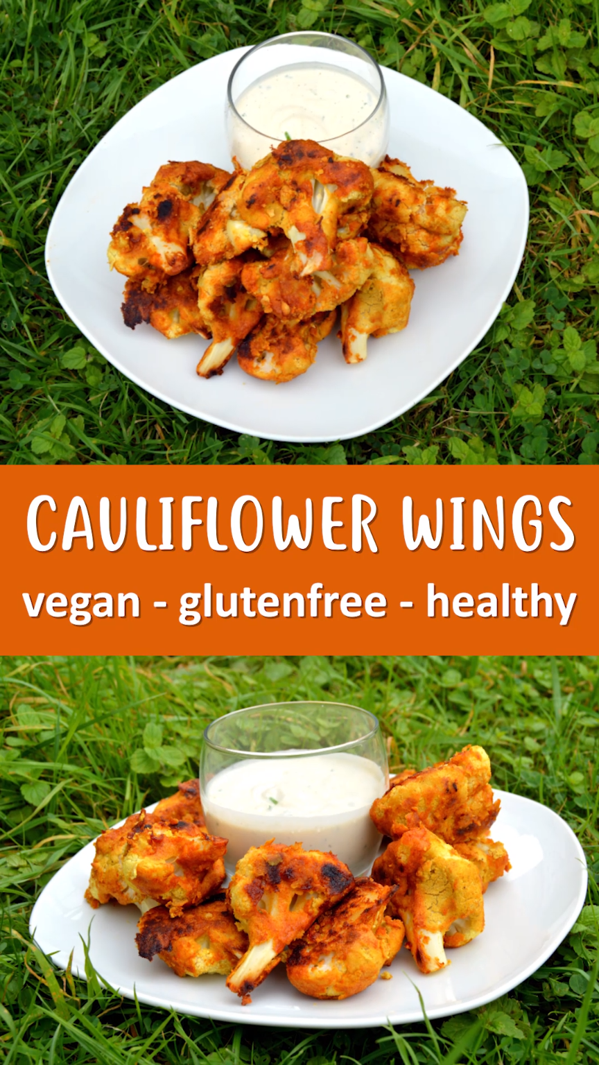 Wings that are vegan, gluten free and healthy. Cauliflower is coated in a chickpea batter then roasted to perfection before being covered in a spicy coating. Served with a raw cashew ranch dip.Cauliflower Wings that are vegan, gluten free and healthy. Cauliflower is coated in a chickpea batter then roasted to perfection before being cov...