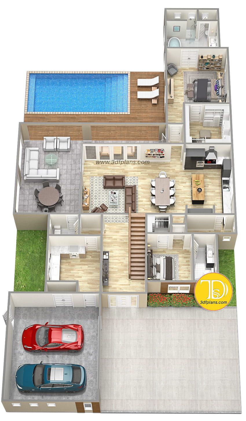 Big Home 3d Floor Plan Pool House Plans 5 Bedroom House Plans House Plans