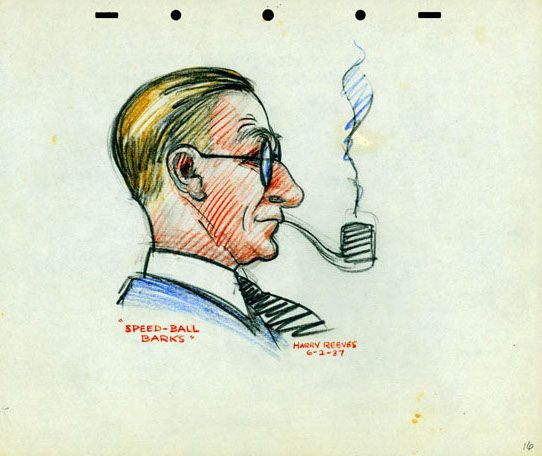 Caricature of Carl Barks, drawn by Disney story artist Harry Reeves.