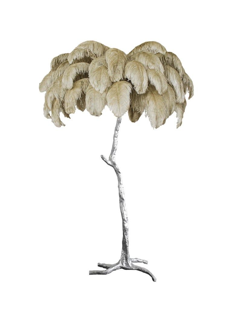 Feather Lamp With Silver Base Feather Lamp Lamp Floor Lamp