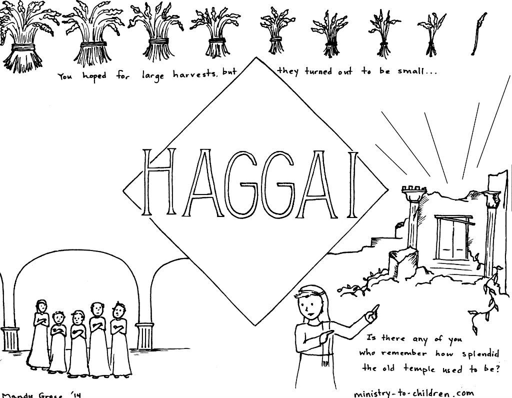 This free coloring page is based on the book of Haggai. It