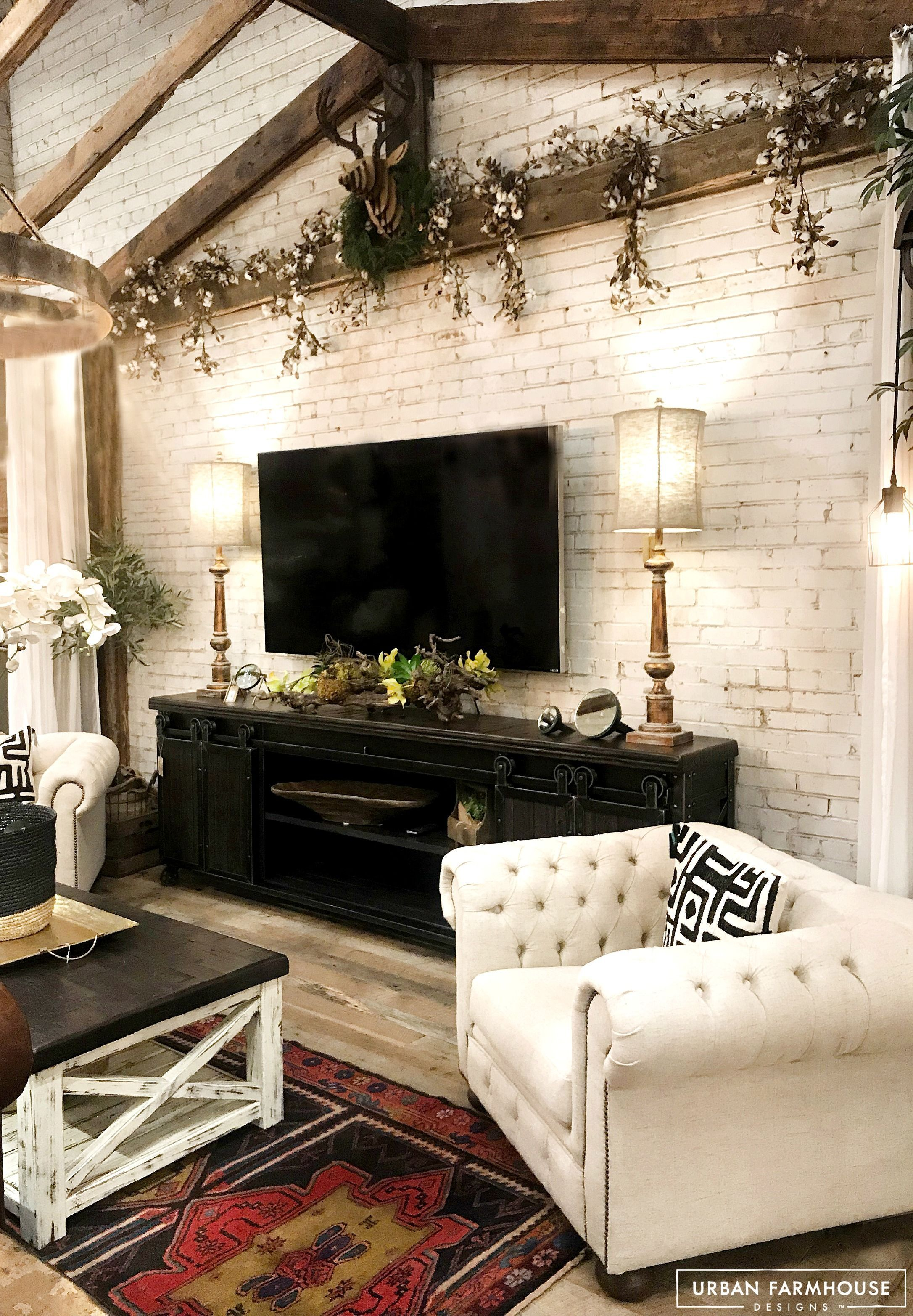 Love the lamps beside the hanging tv
