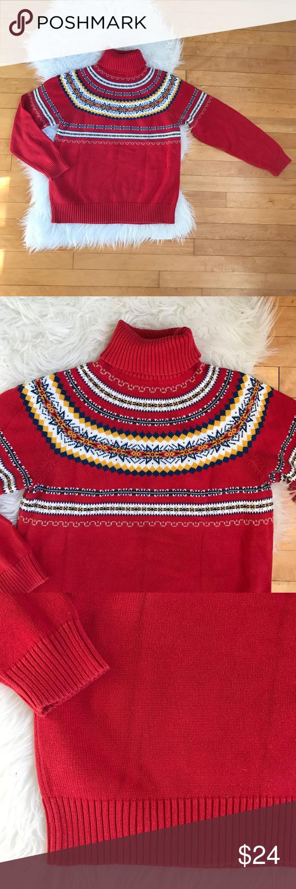 Pendleton Red Fair Isle Turtleneck Sweater P M