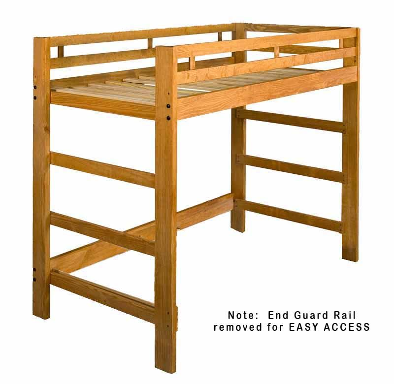 Twin Size Spirit Junior Loft Bed Frame Optional Golden Oak Finish