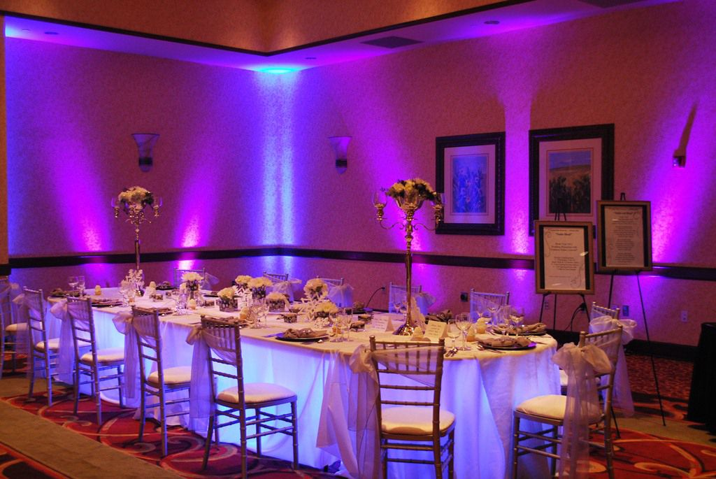 diy outdoor wedding lighting ideas%0A Kasey  LOVE the uplighting and light under head table  Theatrical Media  Services