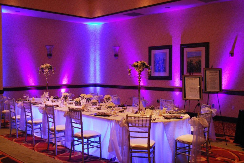 Kasey Love The Uplighting And Light Under Head Table Theatrical Media Services Omaha Ne Wedding Dj Setup Wedding Event Planner Wedding Reception