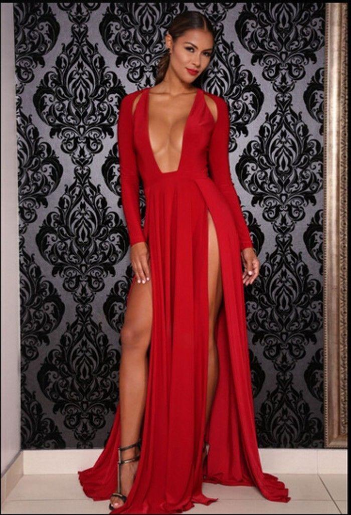 8e44af1f54 Elektra Red Long Sleeve Deep Plunge Hi Slit Maxi Dress