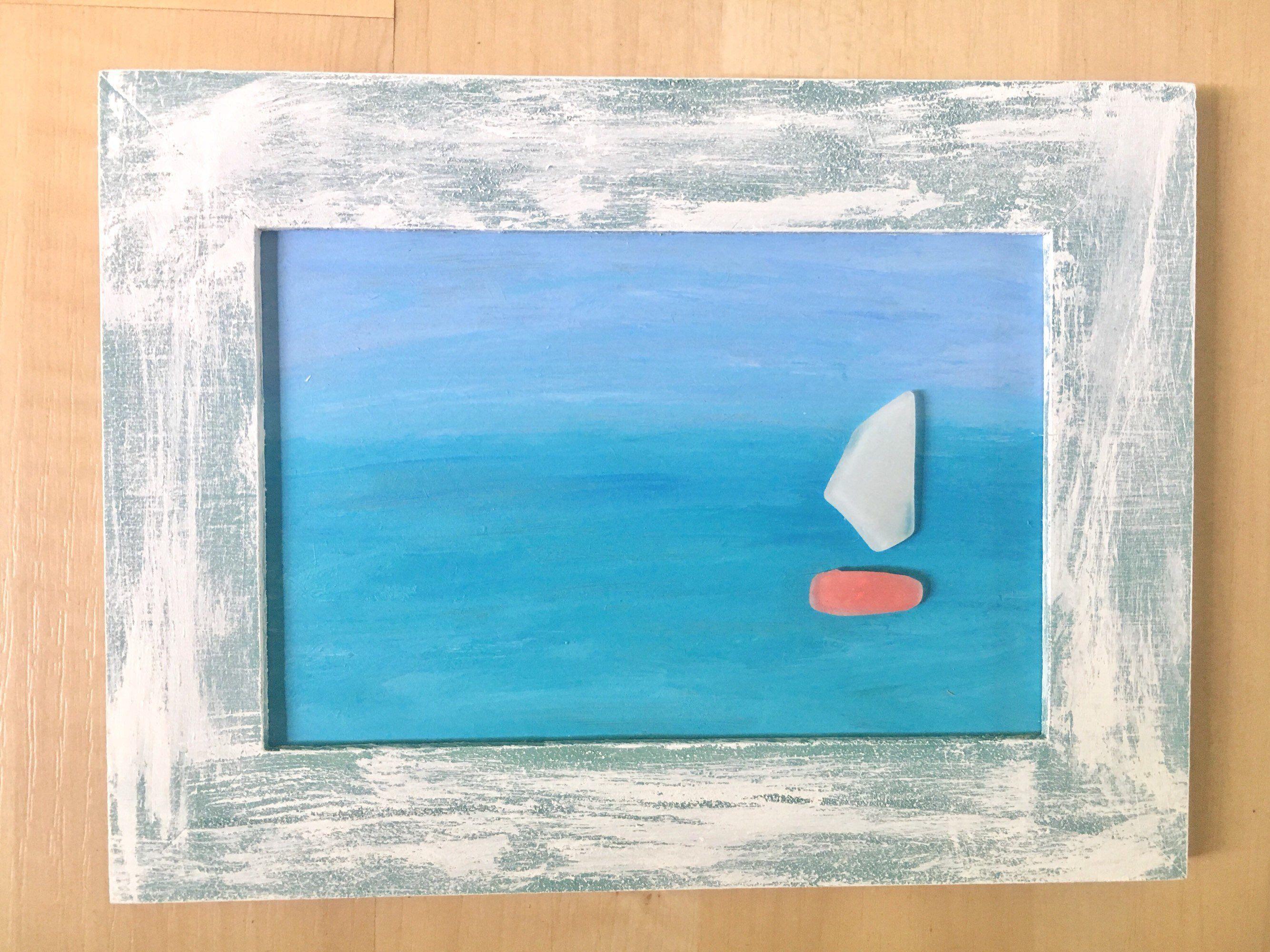 sea glass art abstract art seaglass sailboats beachart rh pinterest com