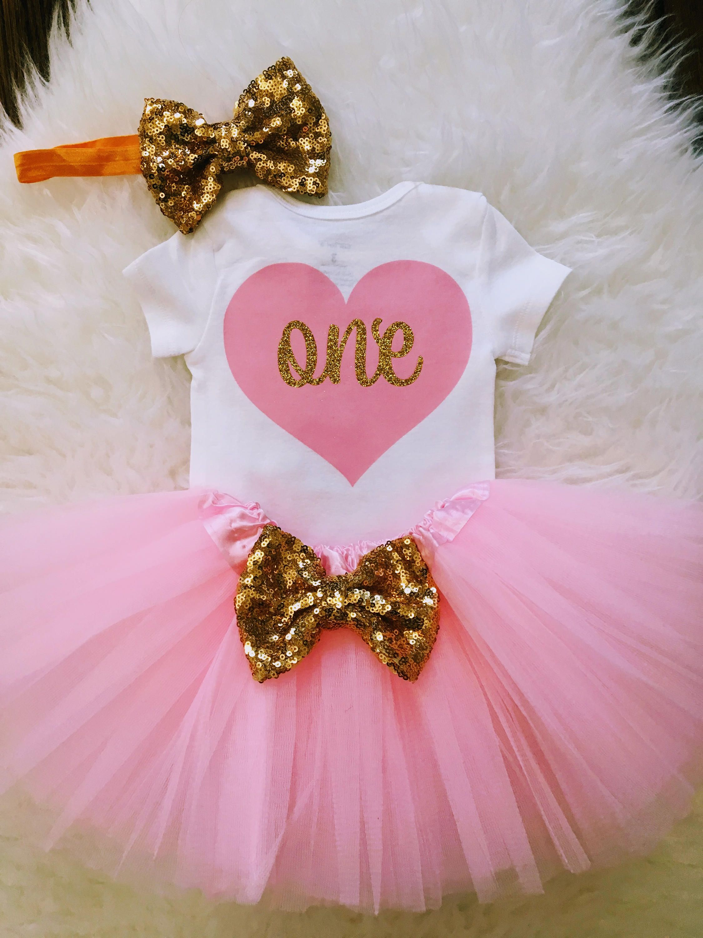 07a8194c1f30 Baby Girl 1st Birthday Outfit, 1st birthday girl outfit, Cake Smash Outfit,  Pink and Gold 1st Birthday Tutu Set, First Birthday Photo Prop by  FunMunchkin on ...