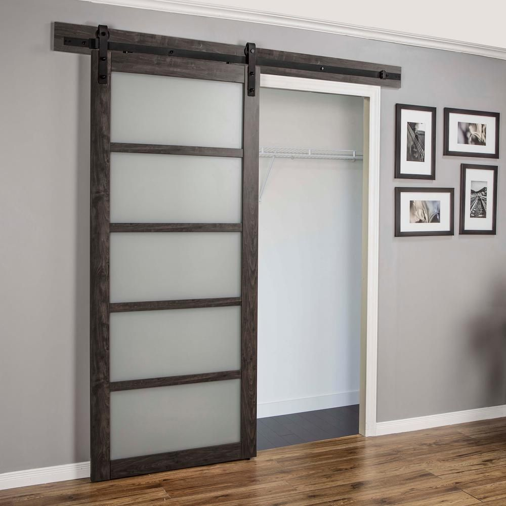 Truporte 36 In X 84 In Iron Age Gray Mdf Frosted Glass 5 Lite
