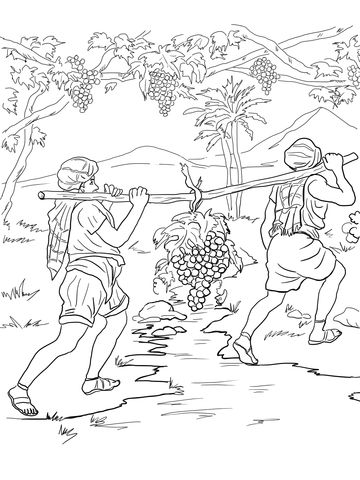 Joshua And Caleb Returning From Canaan Coloring Page Bible