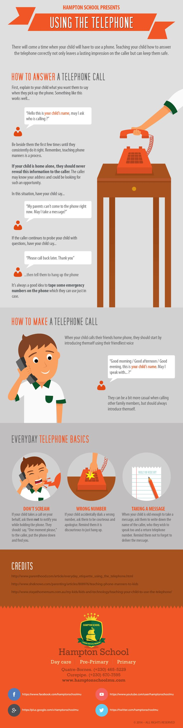 Telephone Safety and Etiquette Infographic Health