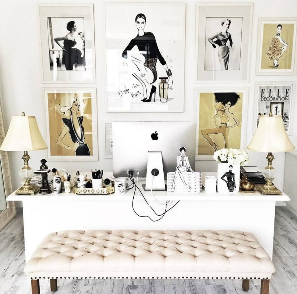 21 Feminine Home Office Designs Decorating Ideas: Megan Hess Illustration. Feminine With A Classic Vintage