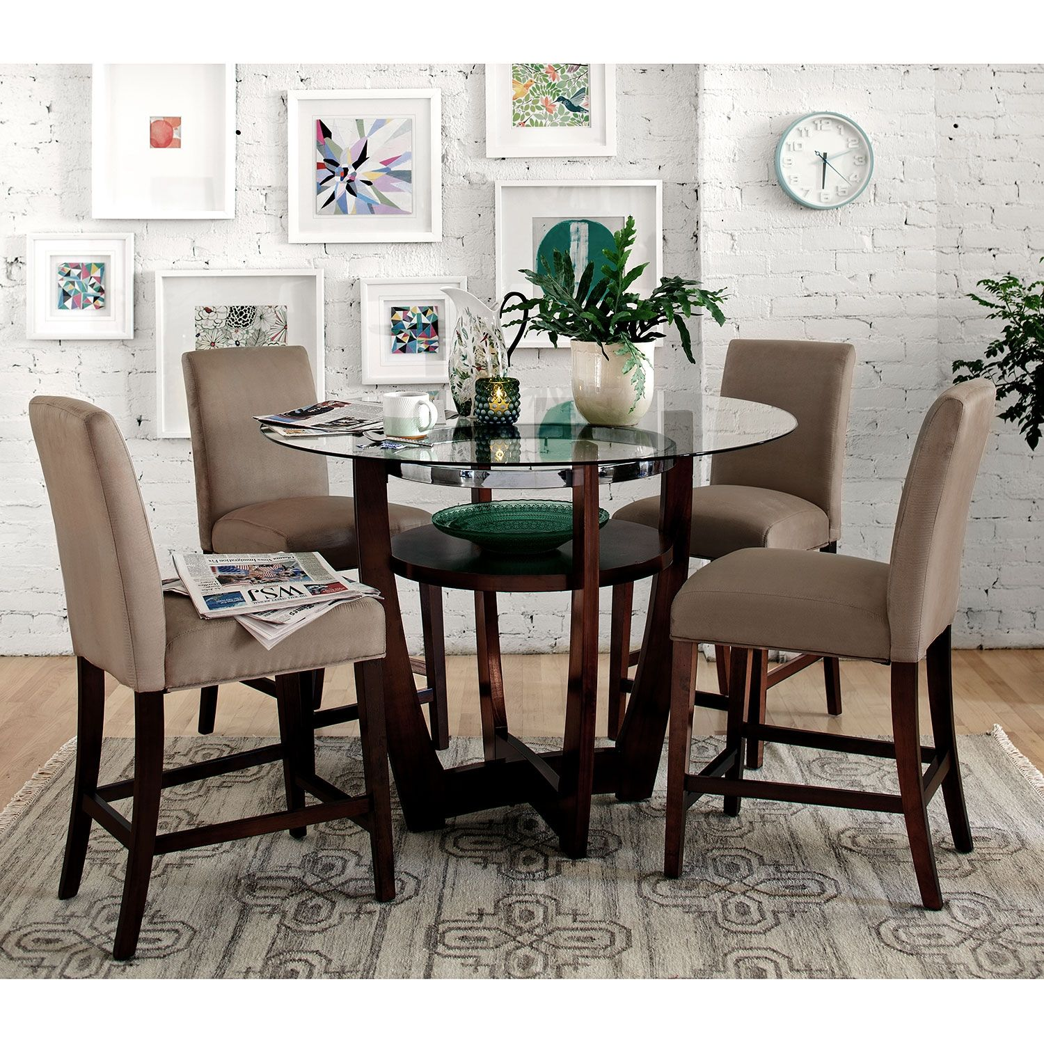 Alcove Beige Ii 5 Pc Dinette Beige Dining Room Counter Height Table Value City Furniture
