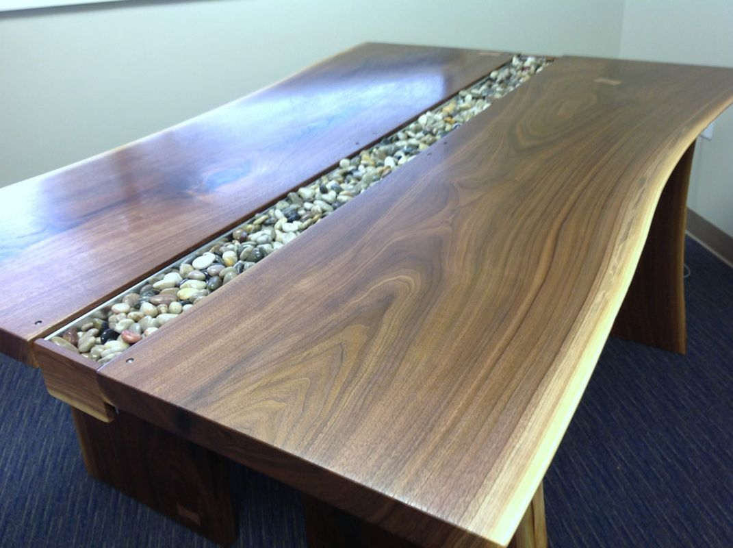 Live Edge Black Walnut Slab Conference Table   Rugged Cross Fine .