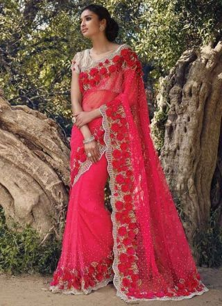 rani pink moti diamond work net designer wedding sarees online httpwww