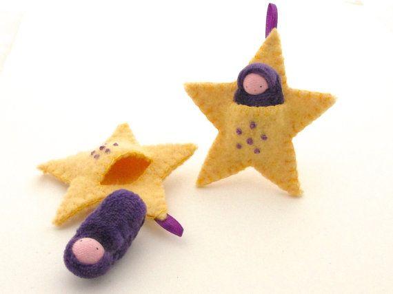 Adorno estrellas pocket muñeca bordadas waldorf por fairyshadow