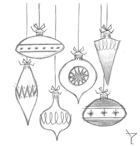 Ornament Sketch Ornament Drawing Vintage Christmas Ornaments Mid Century Modern Christmas