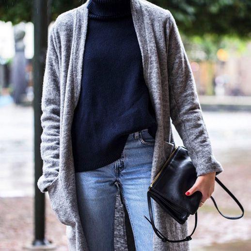 bb8ec477bc Le Fashion Blog Cool Casual Fall Style Long Wool Grey Coat Navy Ribbed  Turtleneck Celine Leather Crossbody Bag Light Wash Denim Via Ellen Claesson