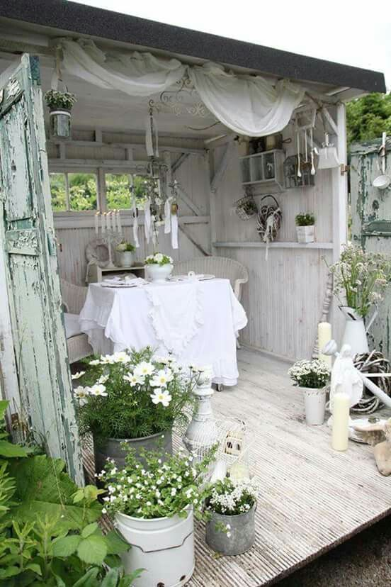 she shed studio summerhouse shabby chic outdoor rooms home rh pinterest com au