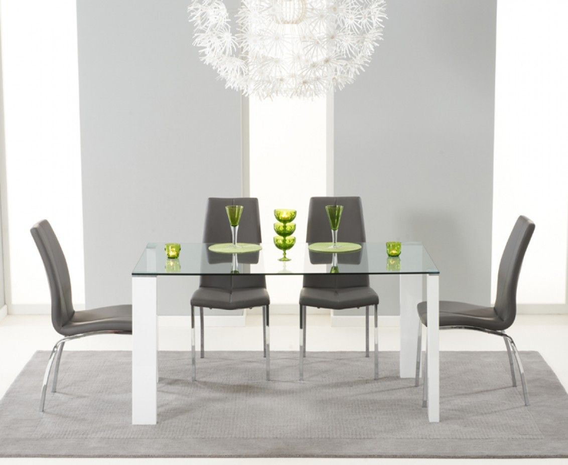 lavina 150cm glass and white high gloss dining table with cavello rh pinterest com