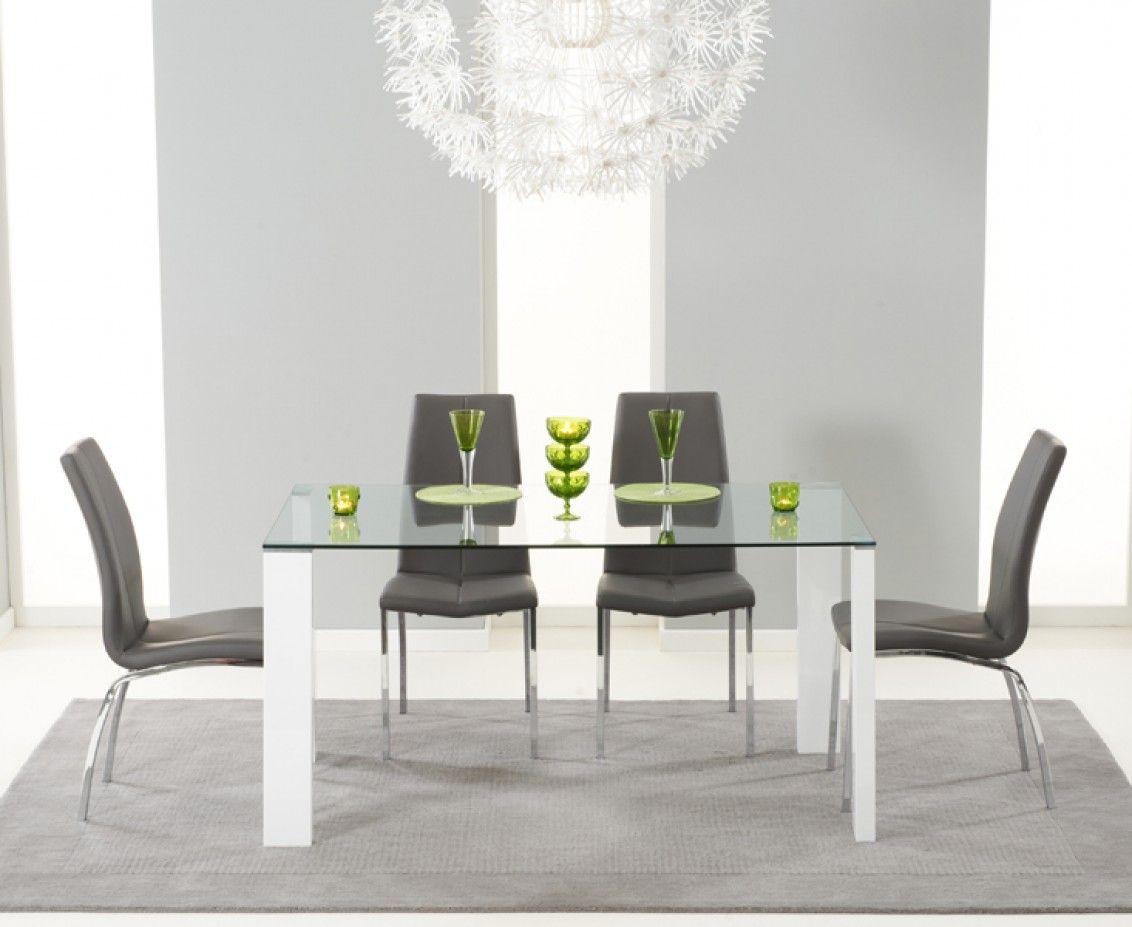 Lavina 150Cm Glass And White High Gloss