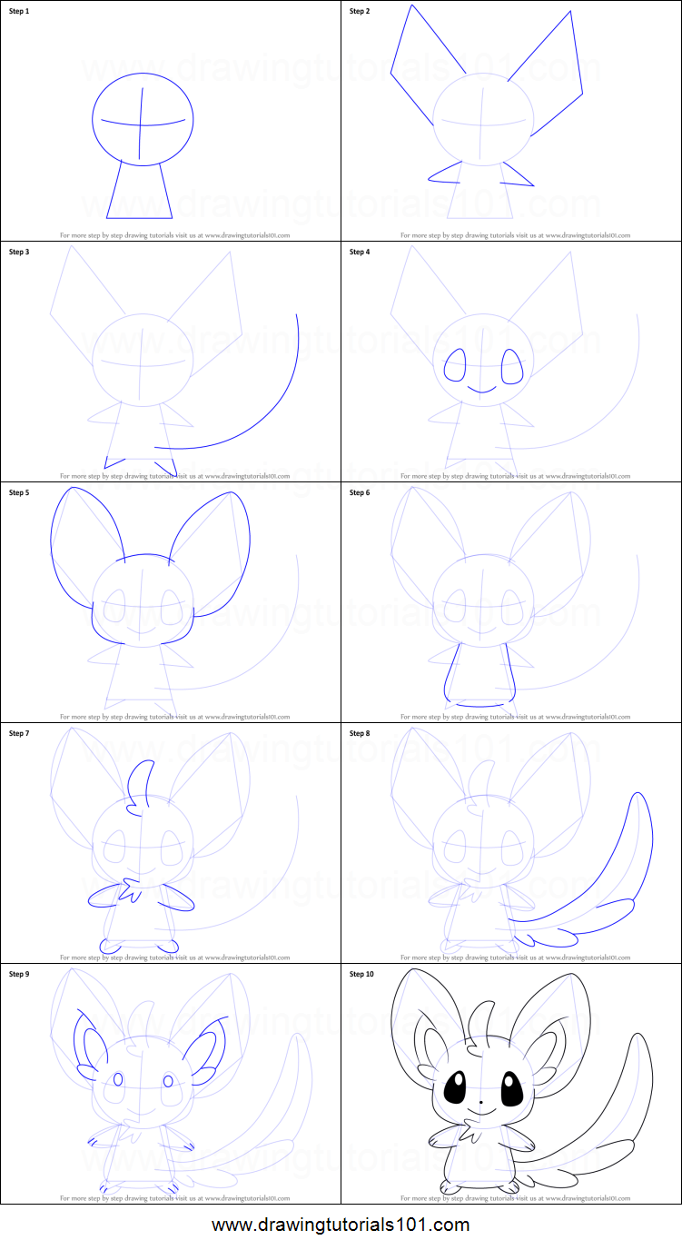 How to draw minccino from pokemon printable step by step drawing sheet drawingtutorials101 com