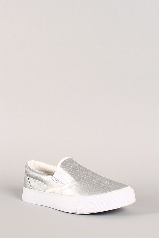 Matte Metallic Fish Scale Slip On Sneaker