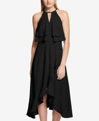 ac7e502b3ab kensie Ruffle Popover Halter Dress - Black 10 | Products | Dresses ...