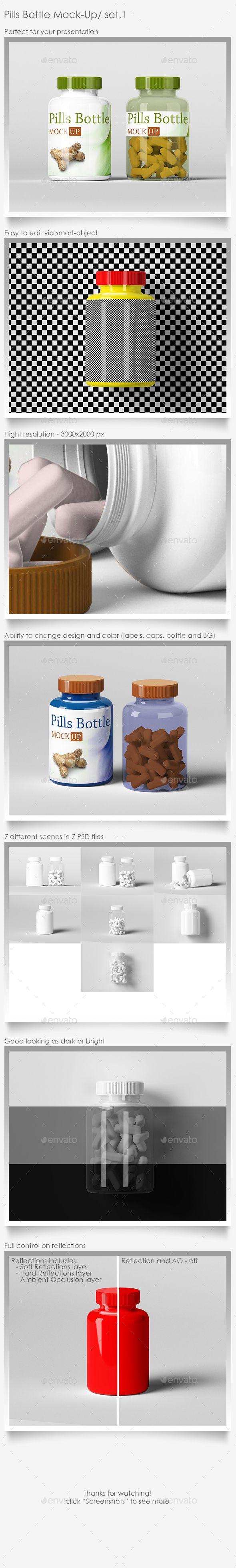 Pills Bottle MockUp Set.1 — Photoshop PSD #pill #presentation • Available here → https://graphicriver.net/item/pills-bottle-mockup-set1/13877381?ref=pxcr