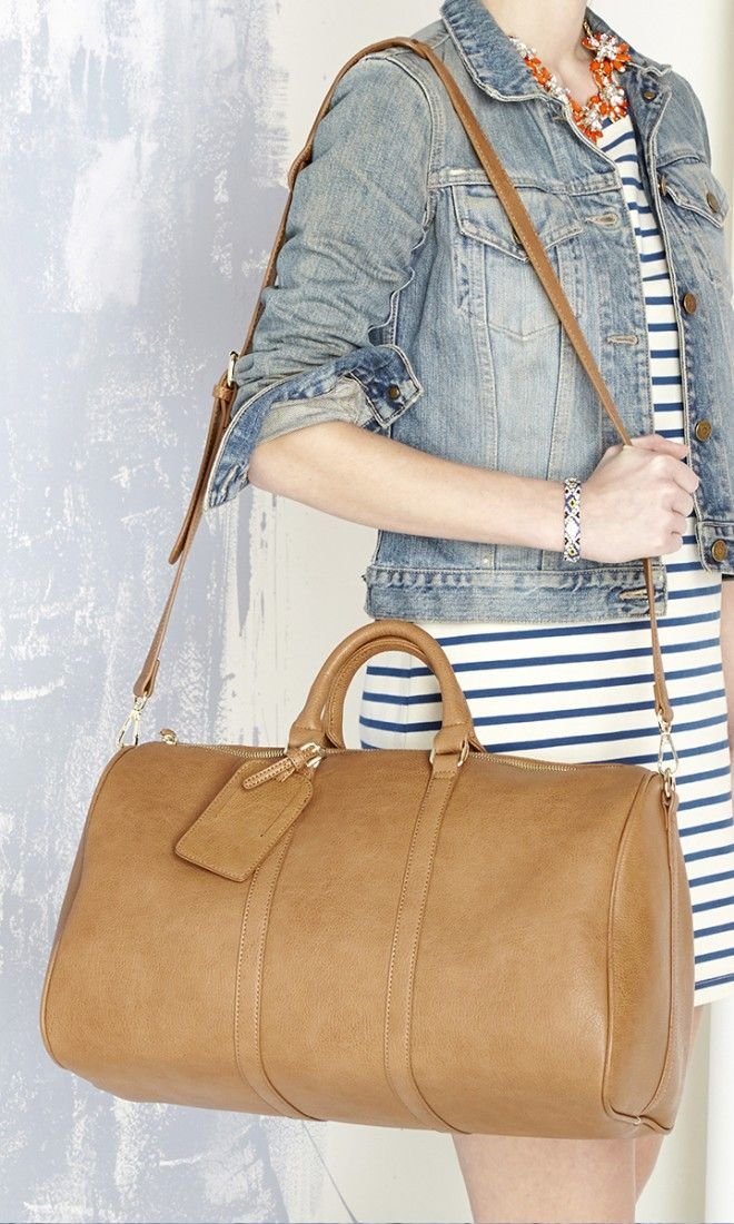 Cognac Weekender Bag With Top Handles Detachable Shoulder Strap And Luggage Tag