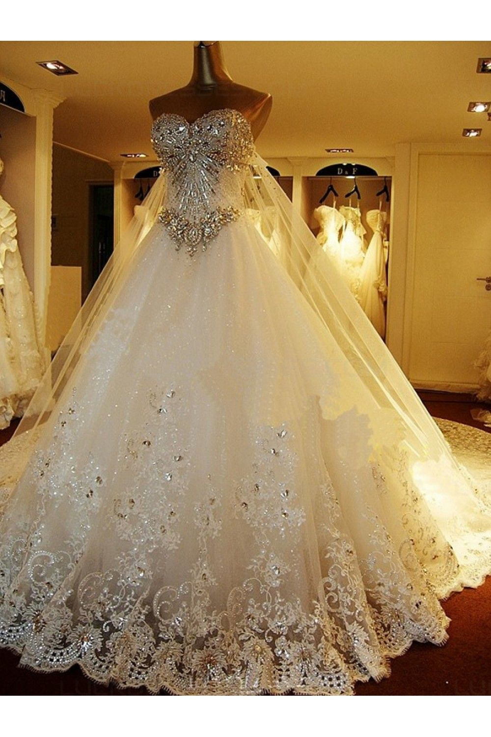 Wedding dresses sparkly  Sparkly Lace Ball Gown Crystal Wedding Dresses Bridal Gowns