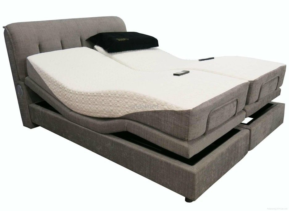 Bedroom Double Mattress Adjustable Platform Bed With Gray