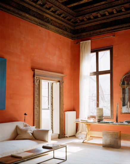 Tangerine. Reminds me of the walls at the Diria