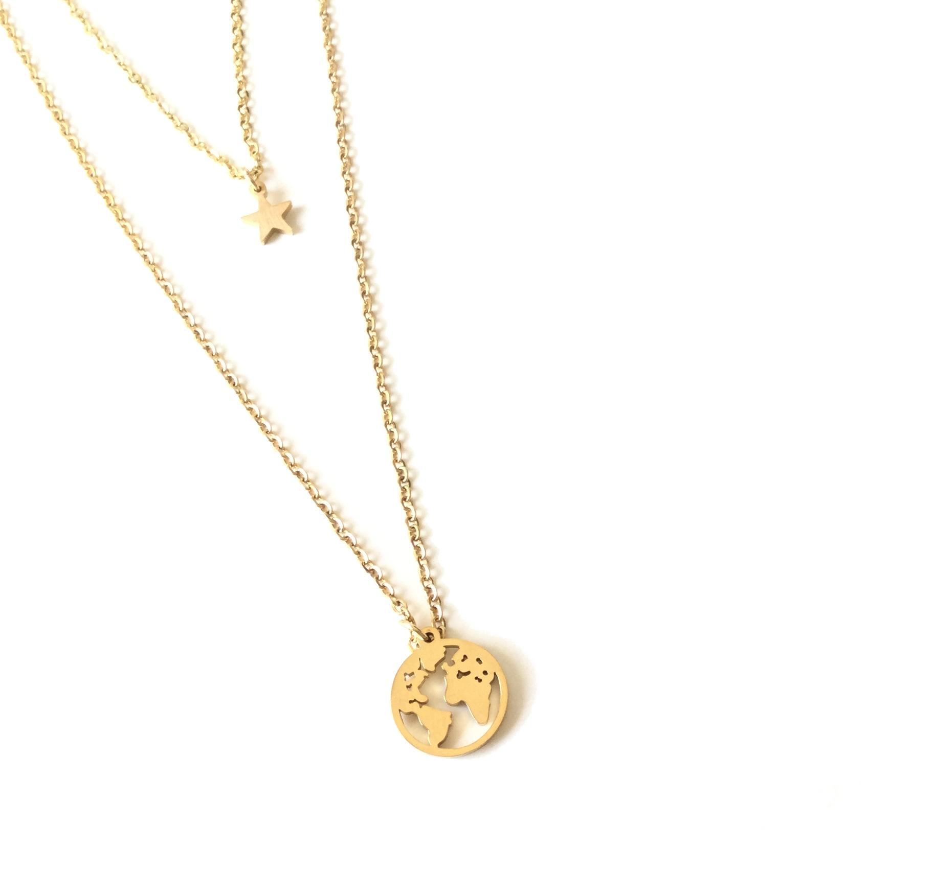 e00e40ccd5c5 COLLAR BABEL DORADO Collar de acero con doble cadena y doble colgante  consistentes en una pequeña