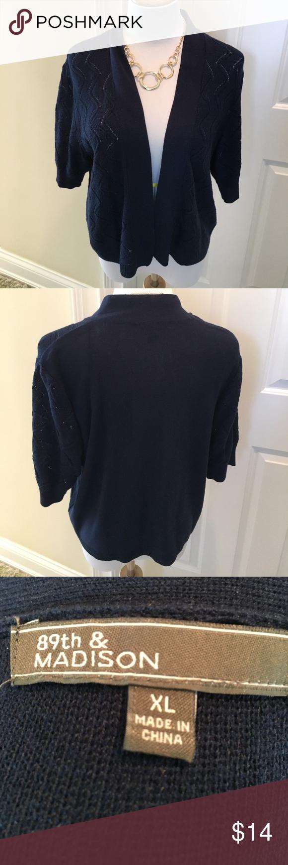 Navy Blue Short Sleeved Lightweight Cardigan   Sweater cardigan ...