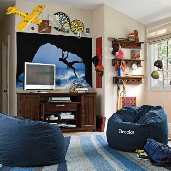 Jungenzimmer Gestalten Pc Schreibtisch Hocker Teppich Dekoideen