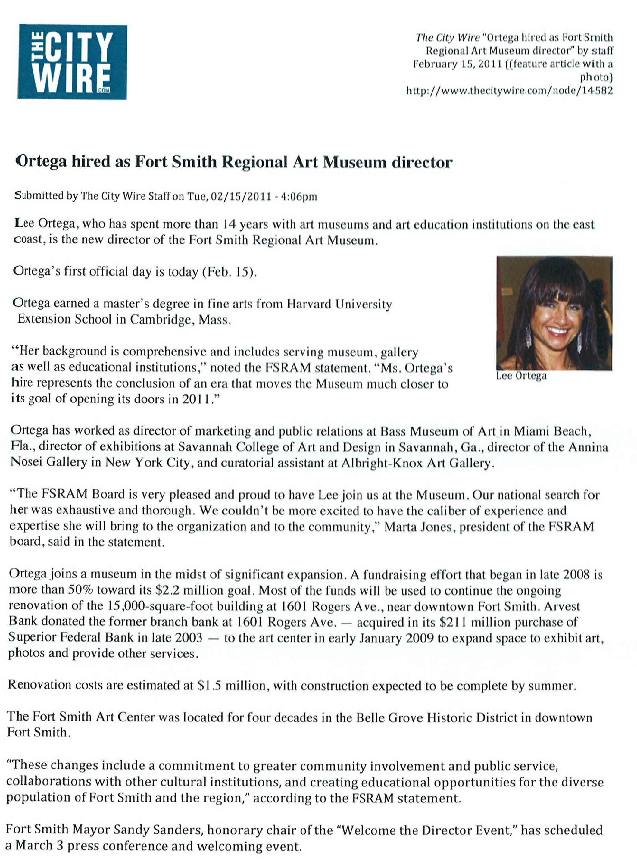 Ortega hired as Fort Smith Regional Art Museum director -The City ...