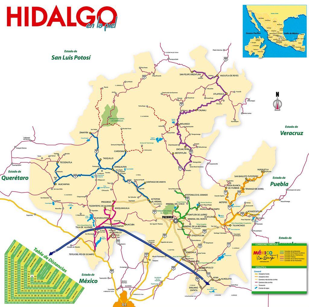 Mapa Turistico De Hidalgo Mapa Turistico Turismo En Mexico