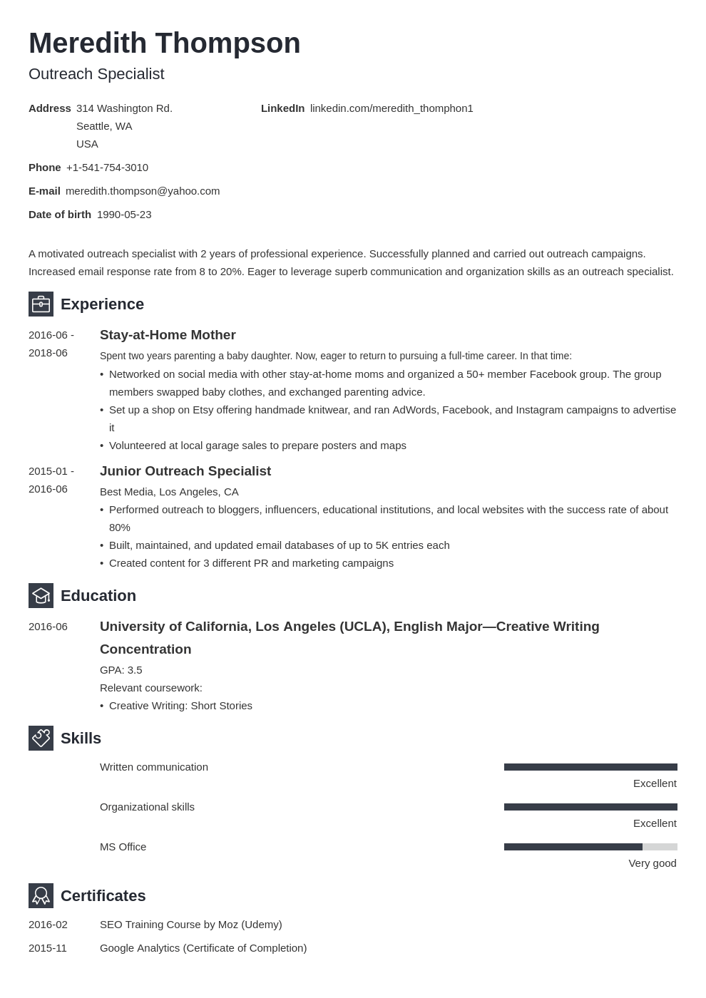 stay at home mom resume example template newcast in 2020