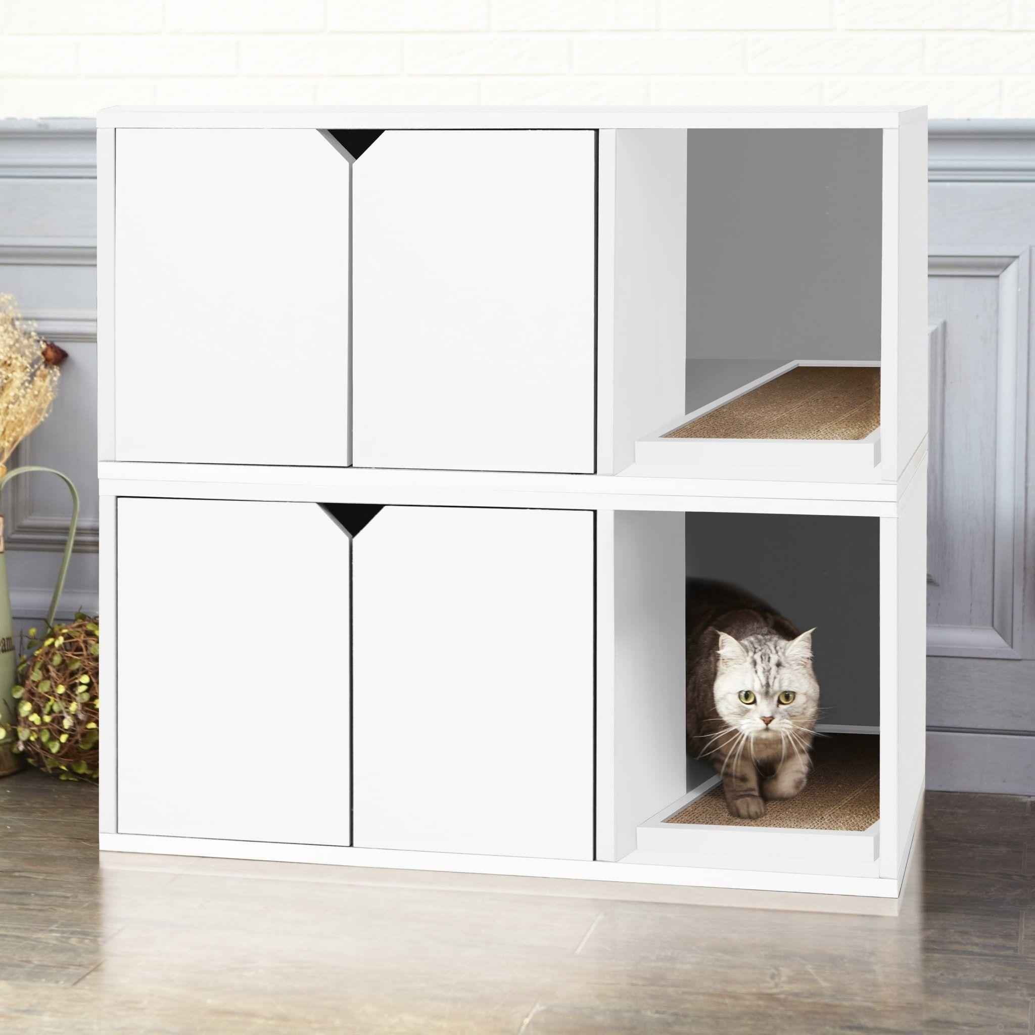 Way Basics White Eco Modern Double Cat Litter Box Furniture With Lifetime Guarantee