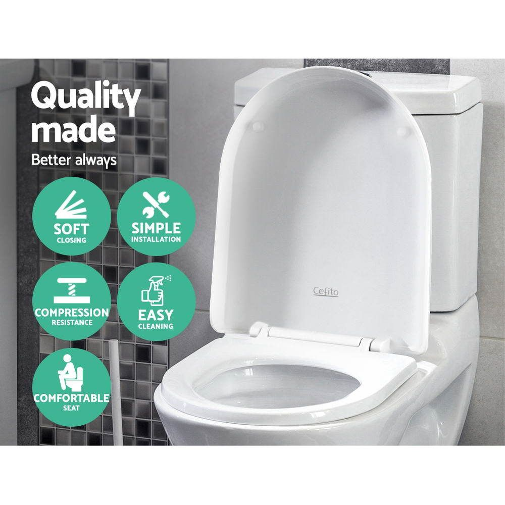 Cefito Soft Close Toilet Seat Cover U Shape Universal Fitting