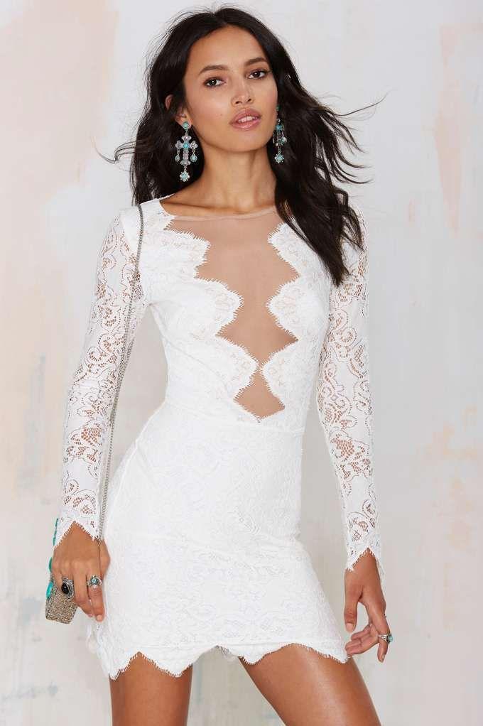 For Love & Lemons Noir Lace Dress - White - Going Out | Body-Con | LWD | For Love and Lemons | Lace Dresses