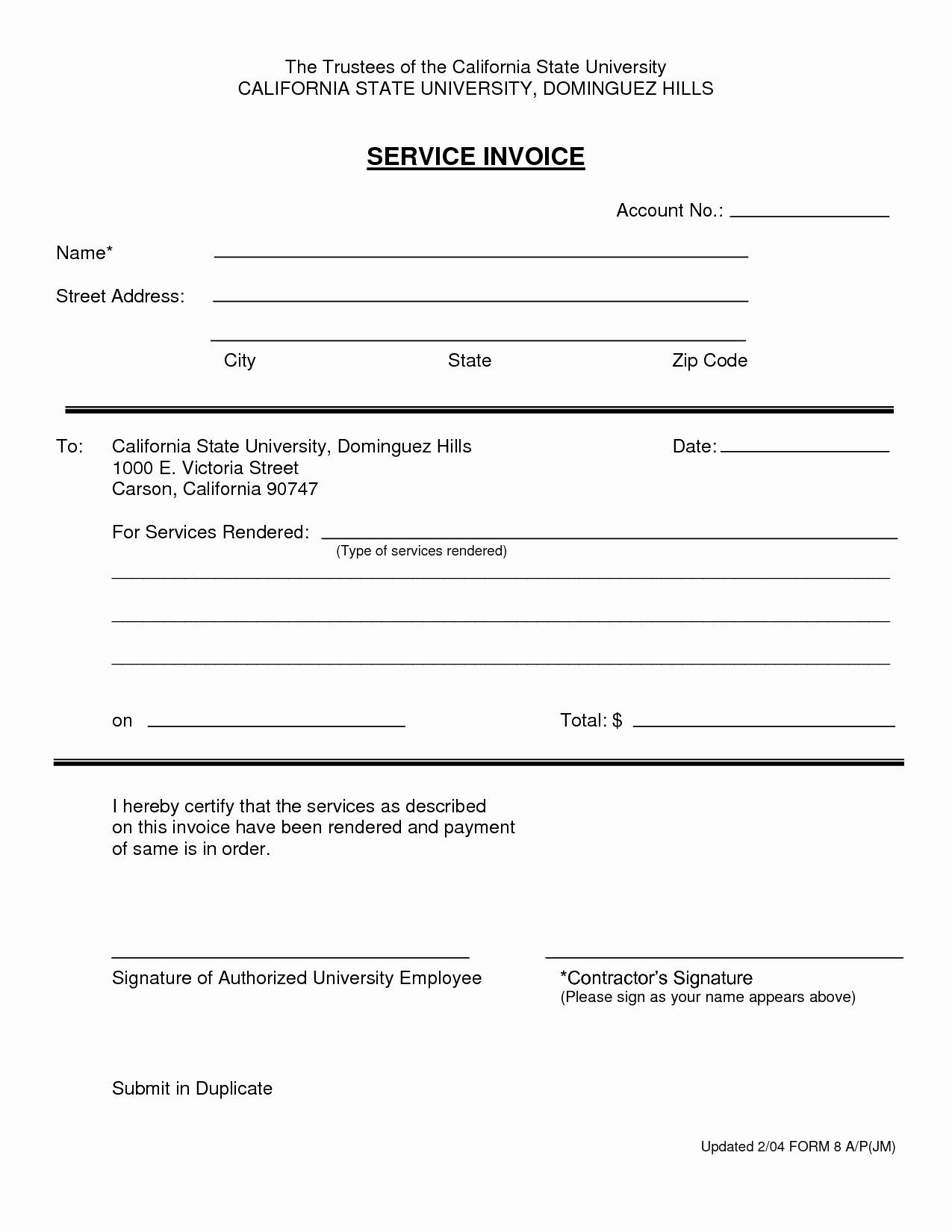 Services Rendered Invoice Template Beautiful Invoice for ...