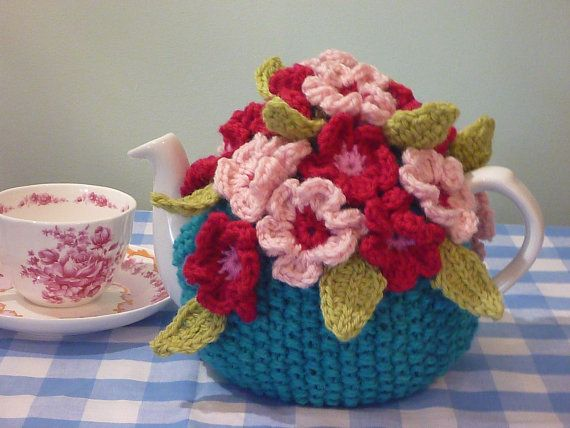 Spring flower tea cozy. Fits 4 cup teapot by teapothats on Etsy, $50.00