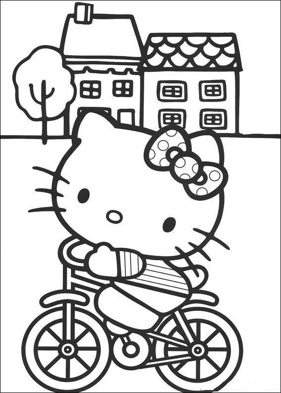 Kitty op de fiets kleurplaat