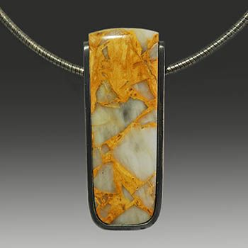 """Wolfgang Vaatz. Jasper Pendant pendant only) $418.00 With oxidized sterling silver. 2.07 x 0.8 x 0.35"""". Wire sold separately."""