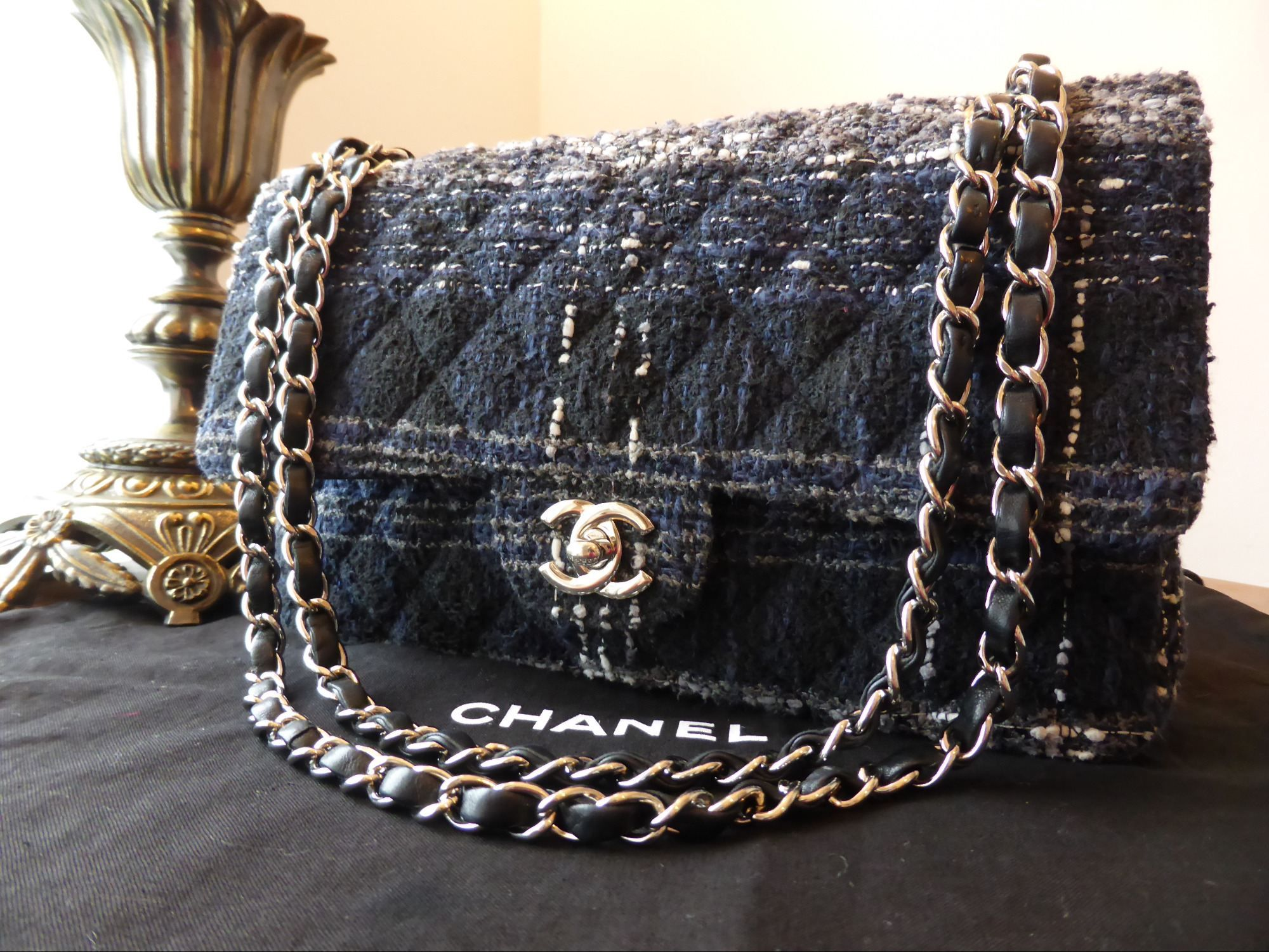 "Chanel Classic 10"" Medium Blue Tweed 2.55 Flap Bag with"