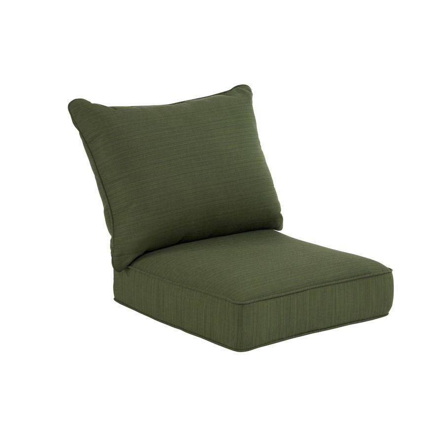 Shop Allen Roth Sunbrella Dupione Palm Green Stripe Cushion For