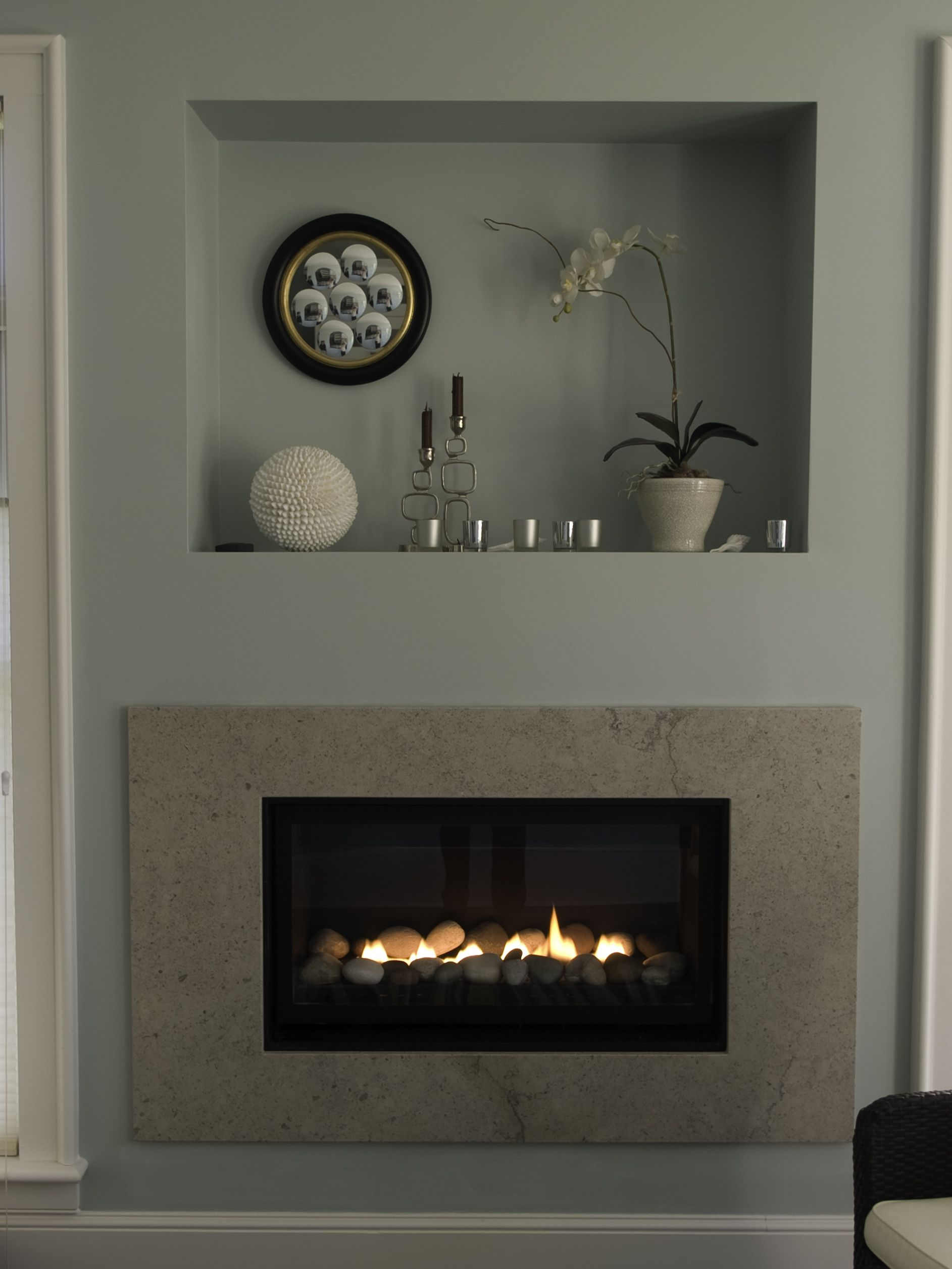 Gas Fireplace With A Clean Face Surround